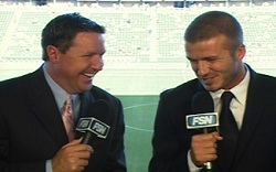 jim watson with david beckham in announcers booth